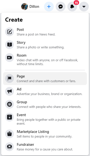 Step 1 in creating a Facebook Page